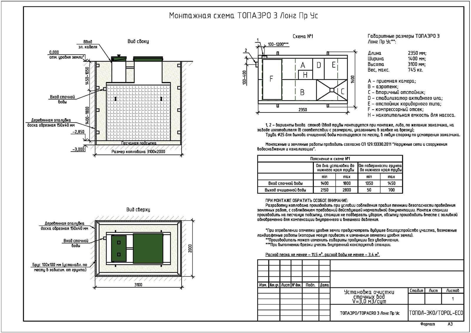 Монтажная схема септика Топаэро 3 Лонг ПР УС