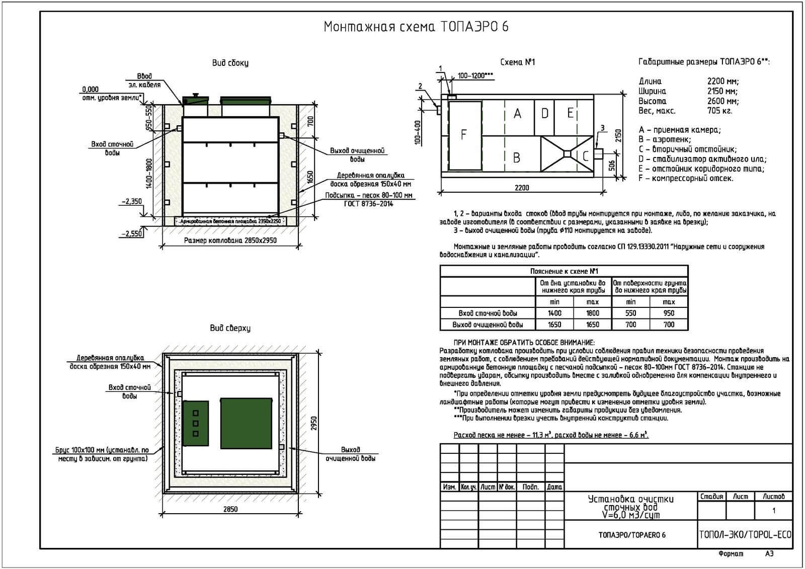 Монтажная схема септика Топаэро 6