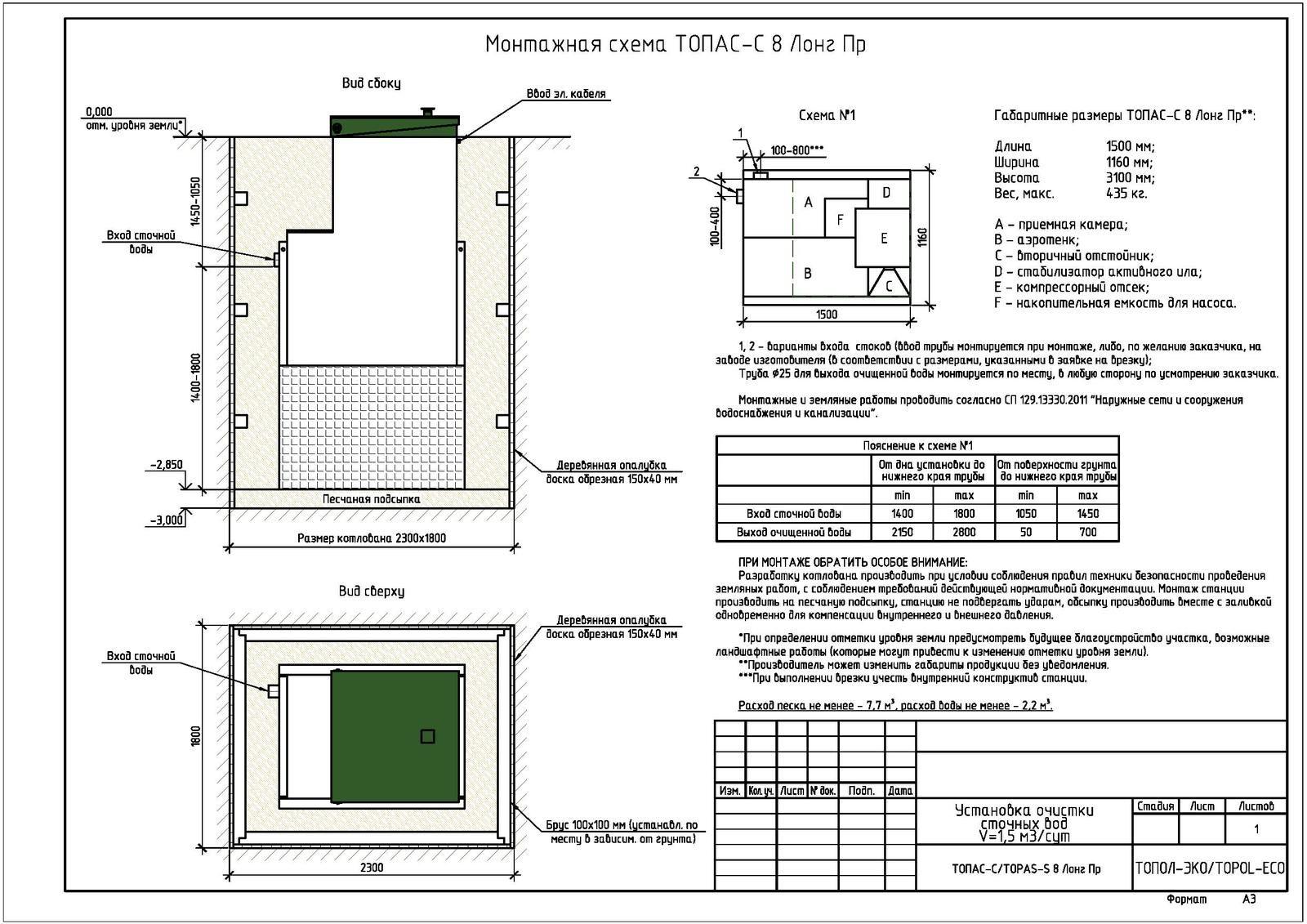 Монтажная схема септика Топас-С 8 Лонг ПР