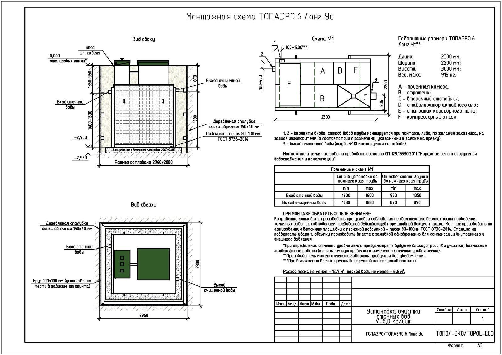 Монтажная схема септика Топаэро 6 Лонг УС