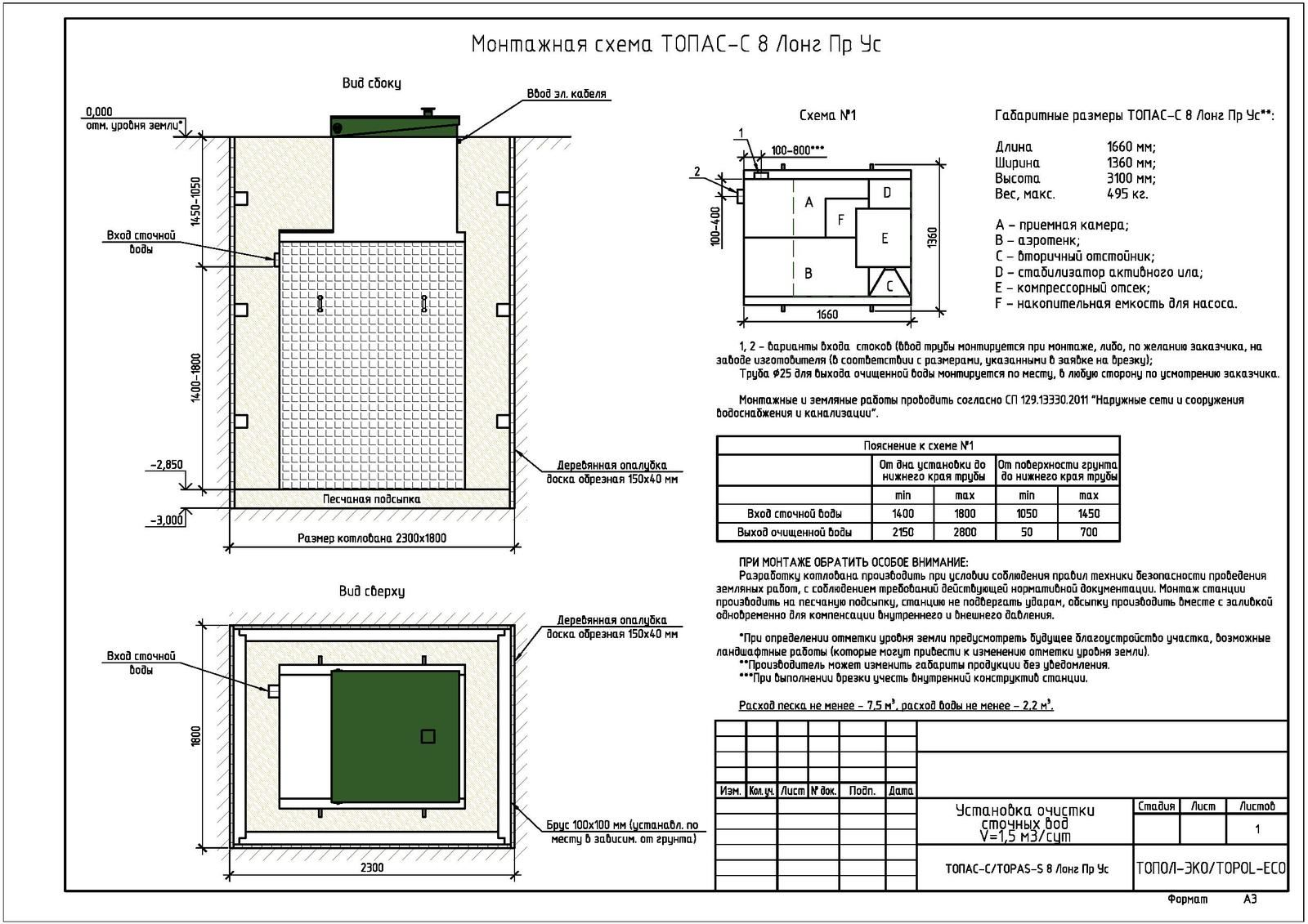 Монтажная схема септика Топас-С 8 Лонг ПР УС