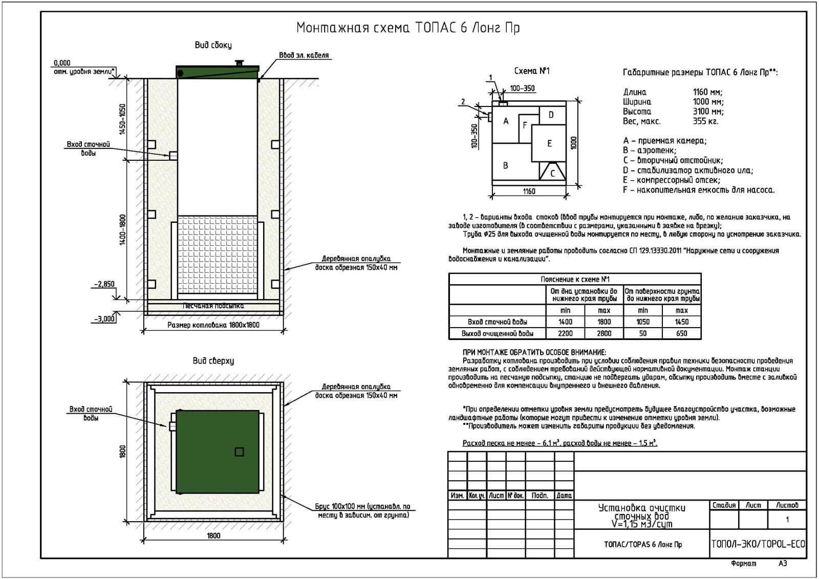 Монтажная схема септика Топас 6 Лонг ПР