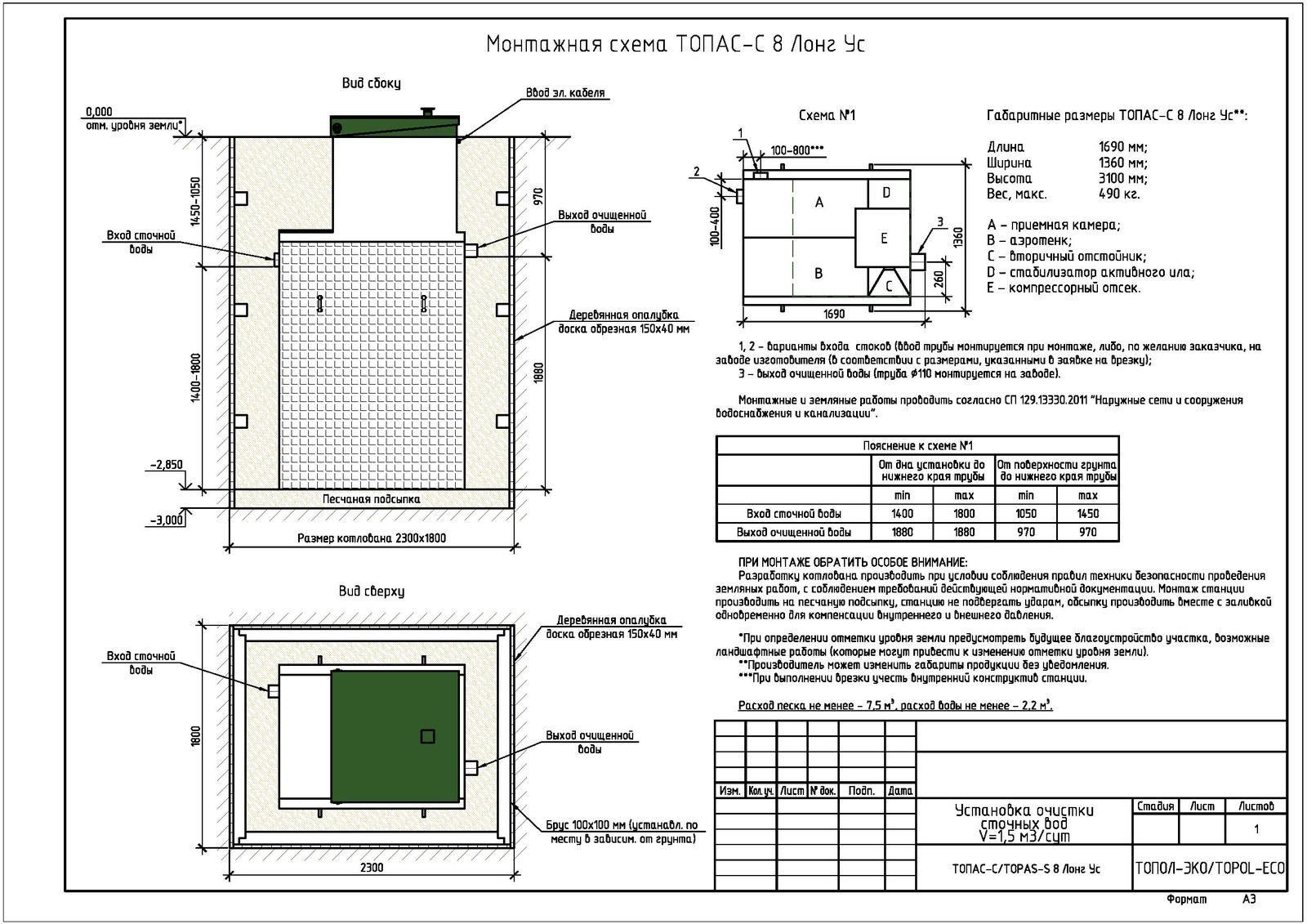 Монтажная схема септика Топас-С 8 Лонг УС