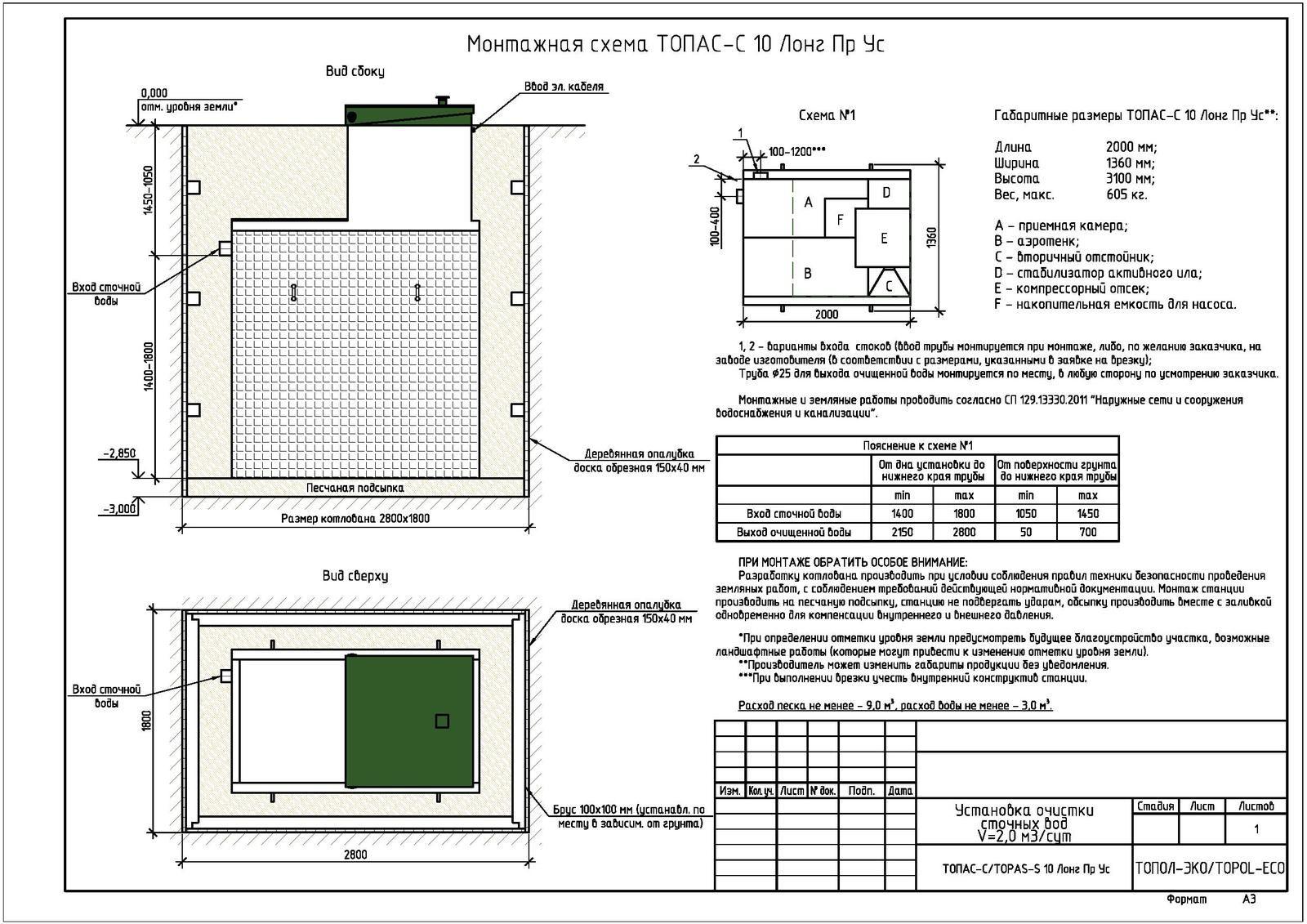 Монтажная схема септика Топас-С 10 Лонг ПР УС