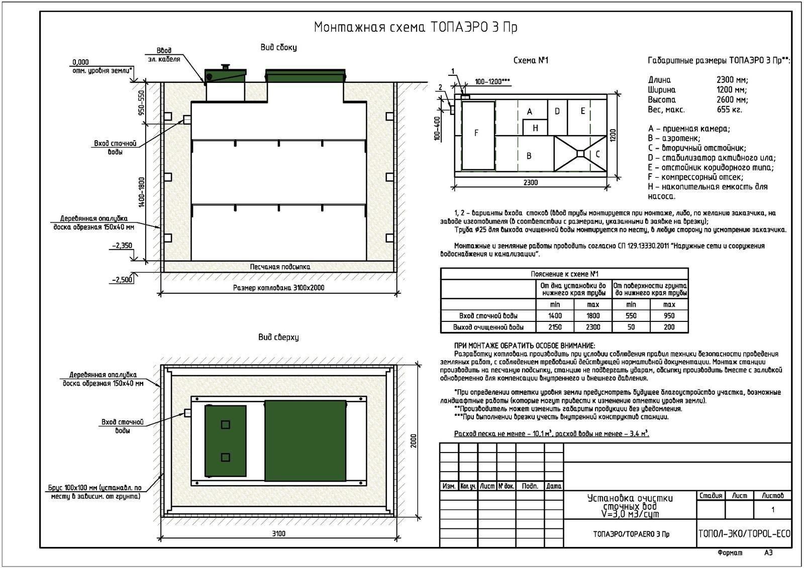 Монтажная схема септика Топаэро 3 ПР