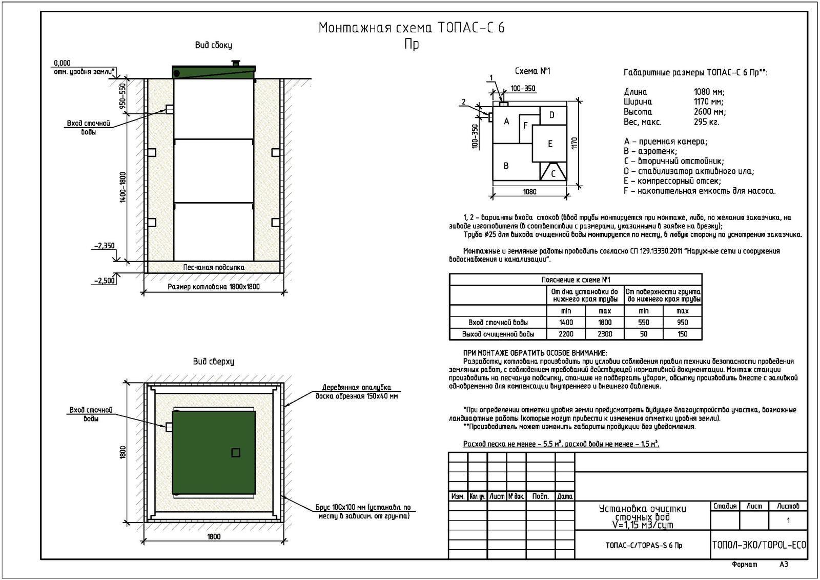 Монтажная схема септика Топас-С 6 ПР