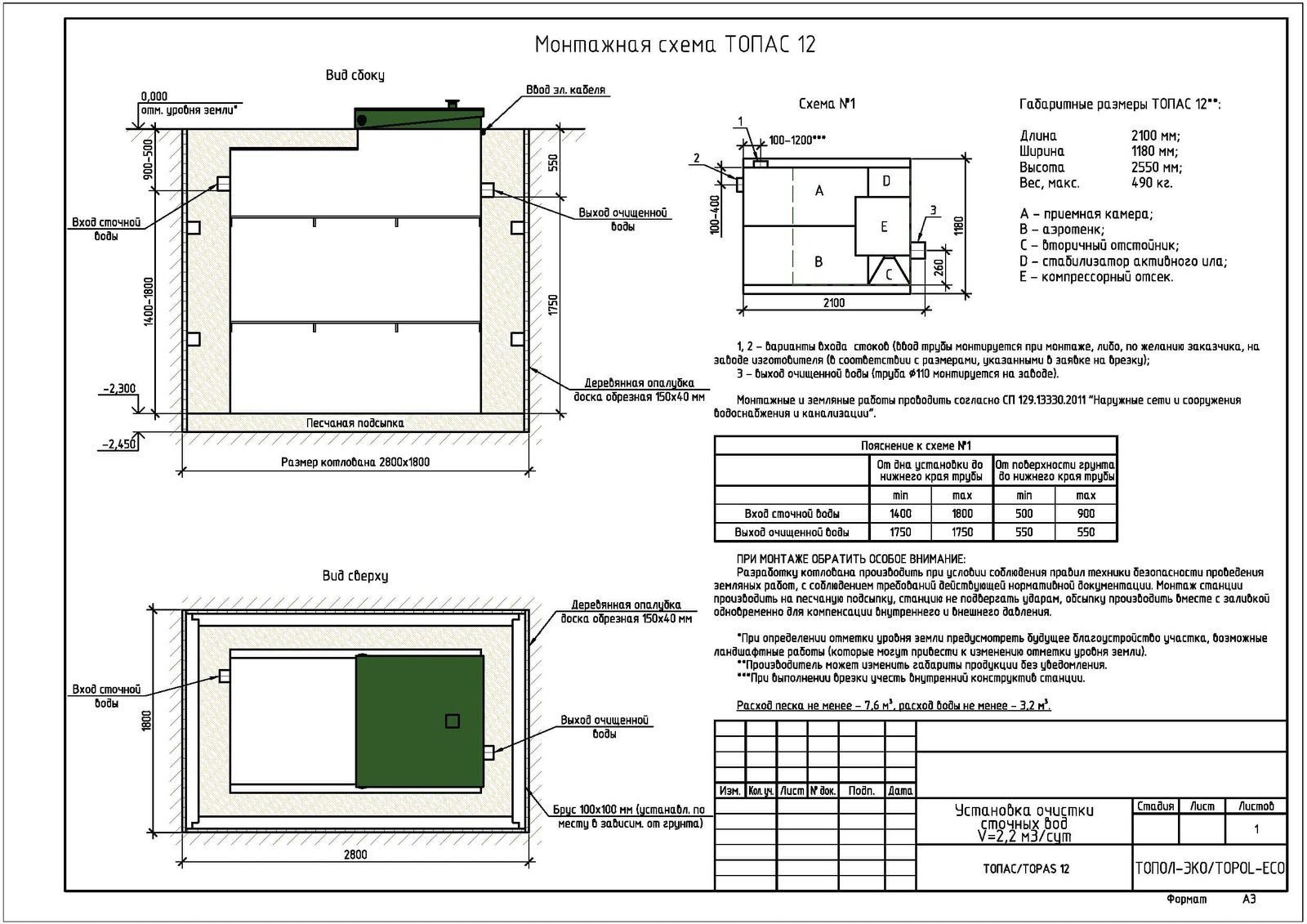 Монтажная схема септика Топас 12