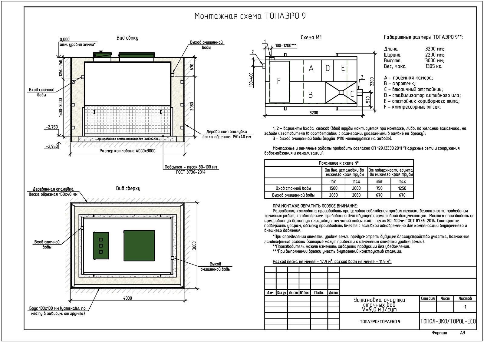 Монтажная схема септика Топаэро 9