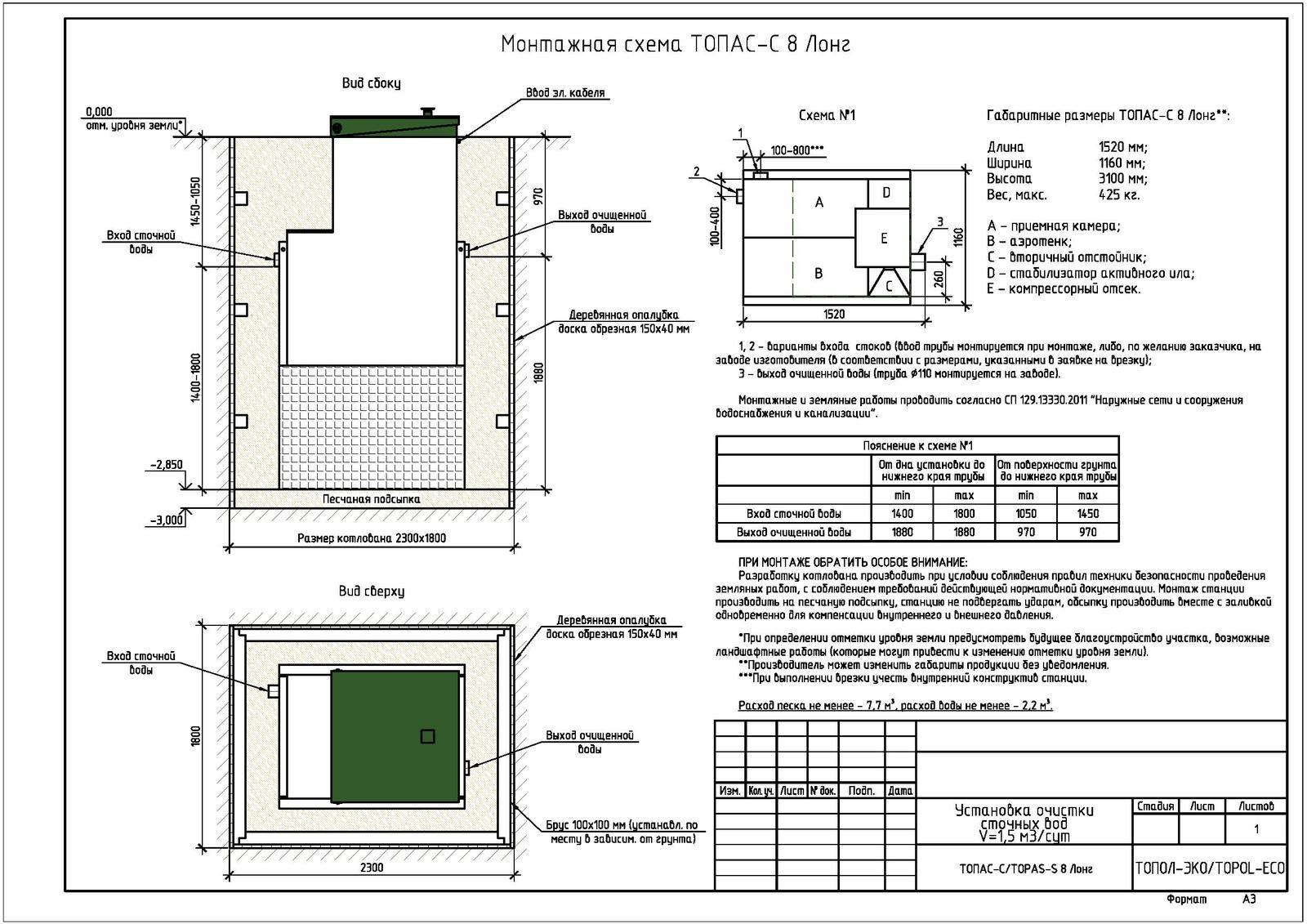 Монтажная схема септика Топас-С 8 Лонг