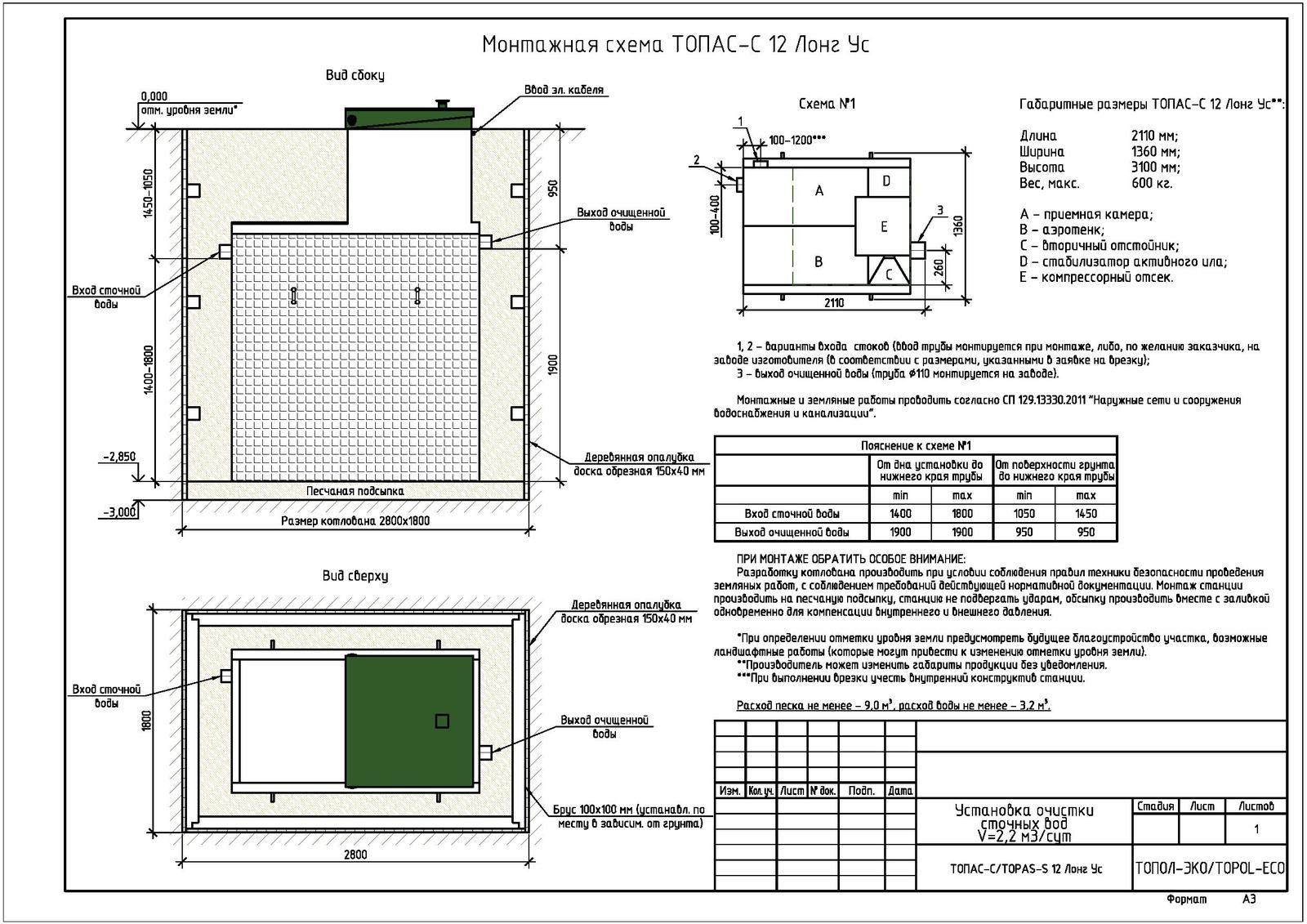 Монтажная схема септика Топас-С 12 Лонг УС