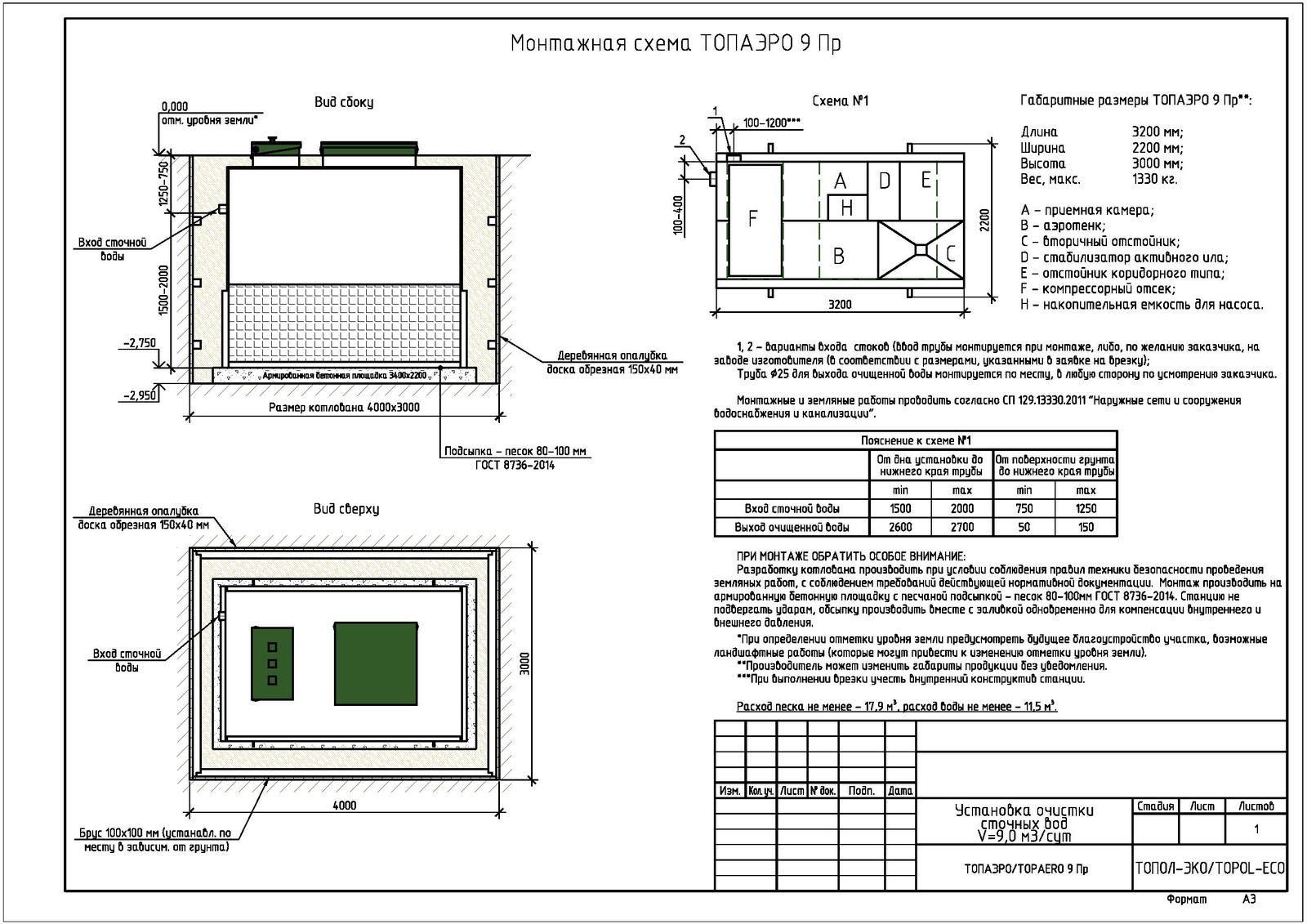 Монтажная схема септика Топаэро 9 ПР
