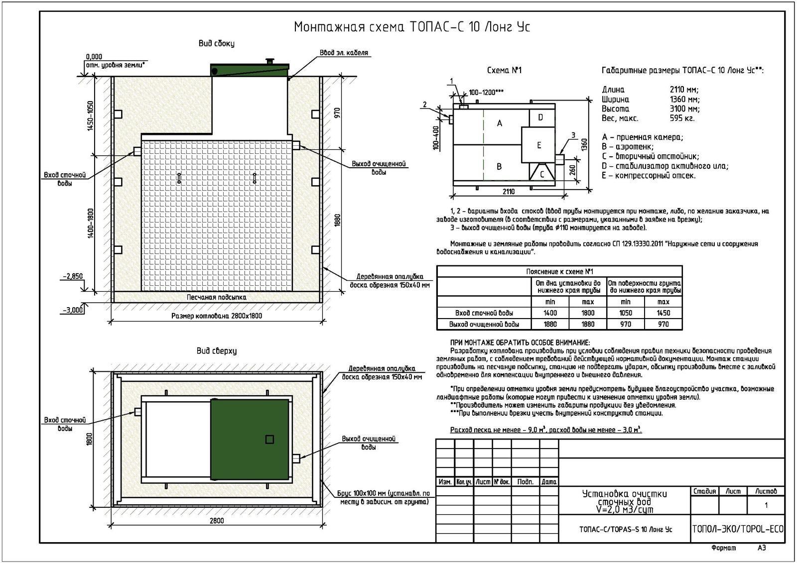 Монтажная схема септика Топас-С 10 Лонг УС