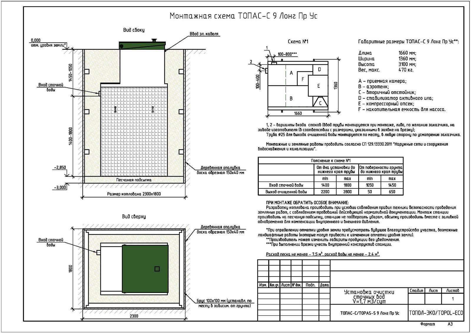 Монтажная схема септика Топас-С 9 Лонг ПР УС