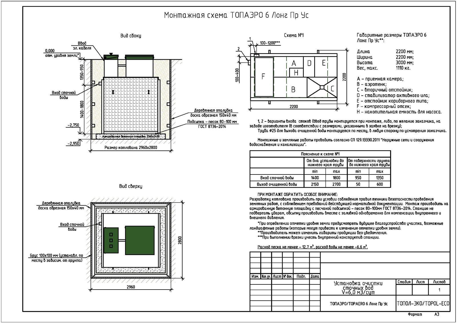 Монтажная схема септика Топаэро 6 Лонг ПР УС