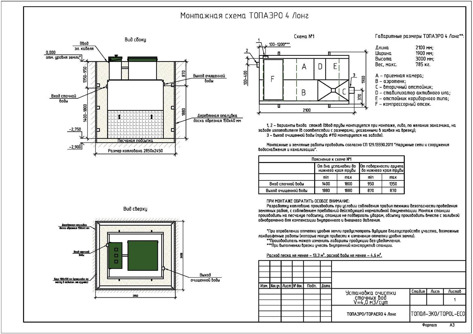 Монтажная схема септика Топаэро 4 Лонг
