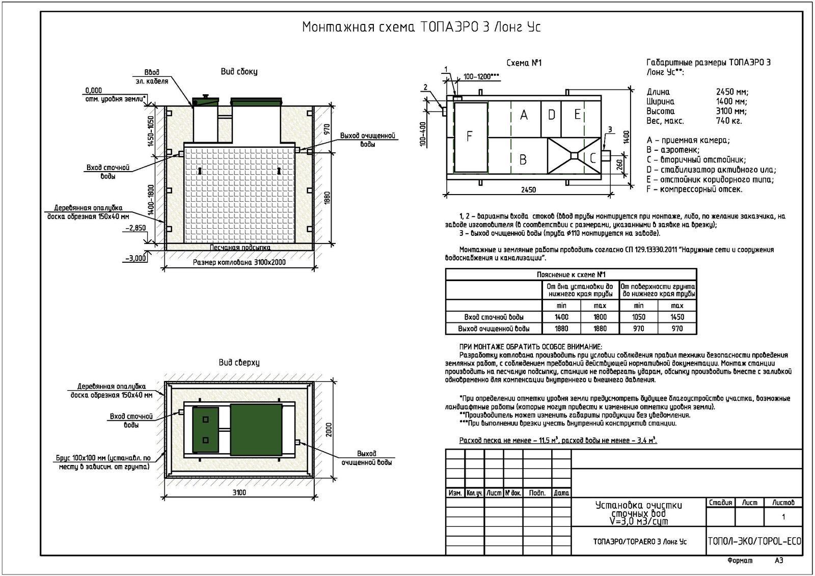 Монтажная схема септика Топаэро 3 Лонг УС