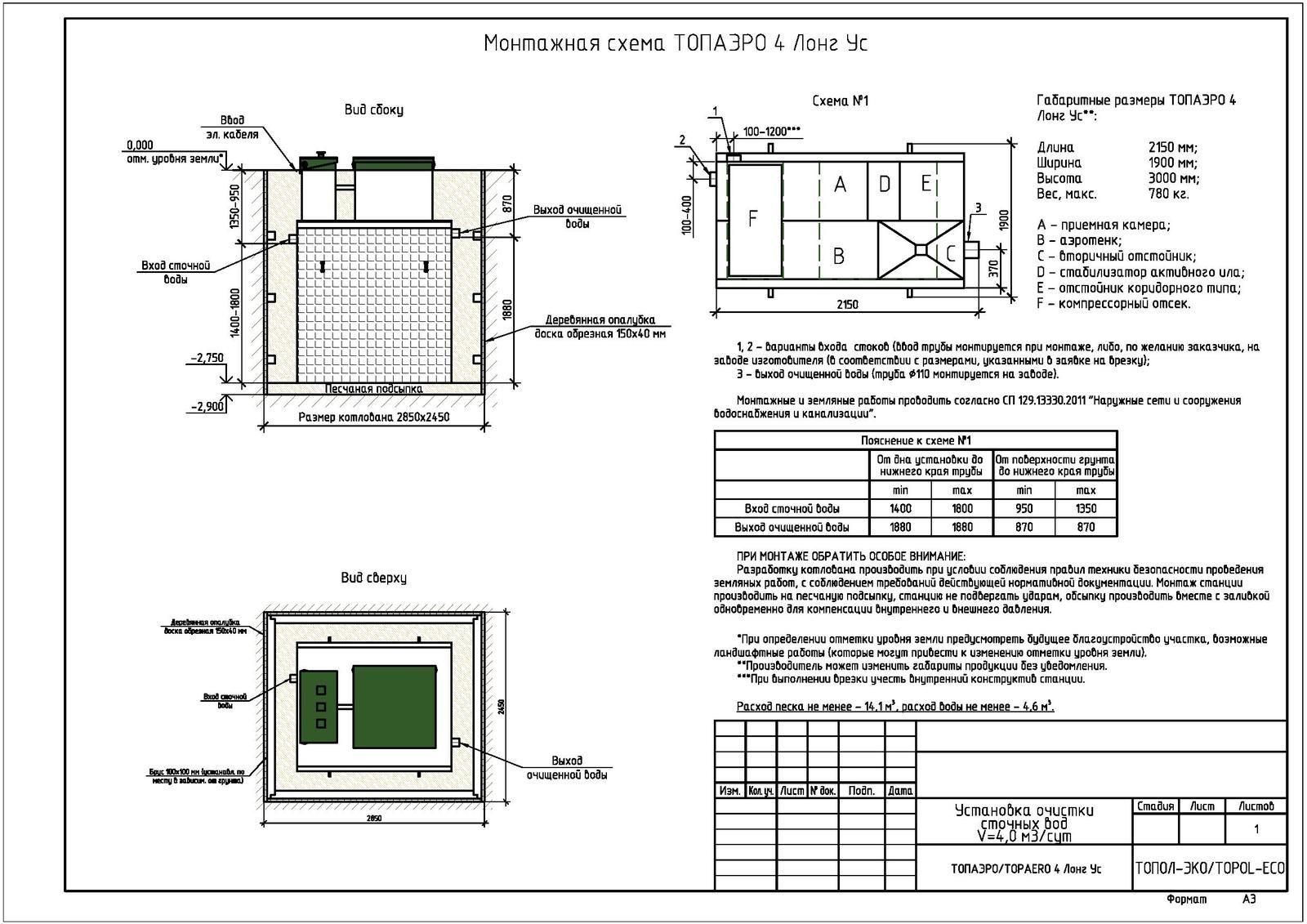 Монтажная схема септика Топаэро 4 Лонг УС