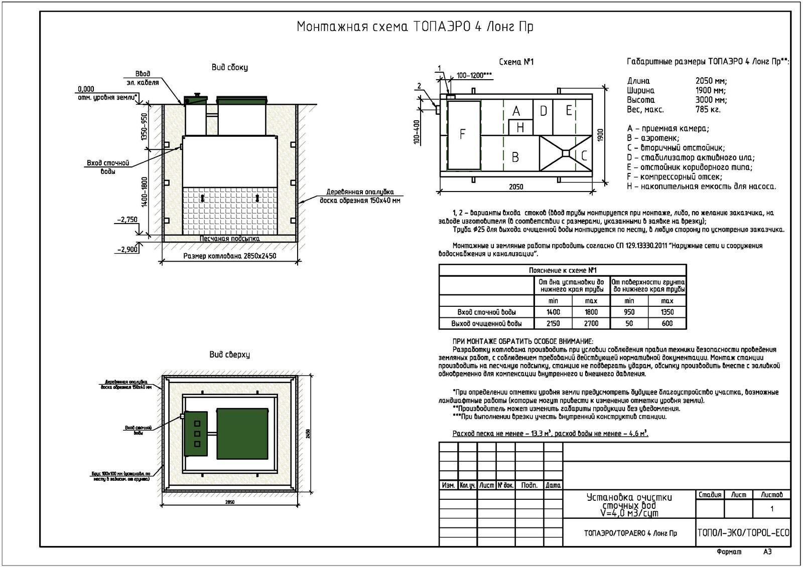Монтажная схема септика Топаэро 4 Лонг ПР