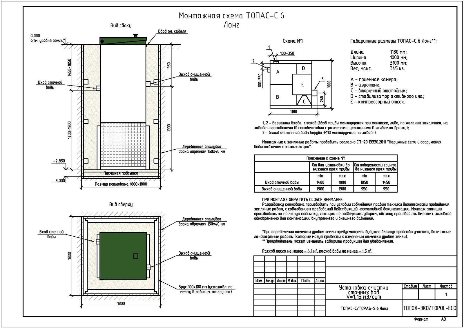 Монтажная схема септика Топас-С 6 Лонг