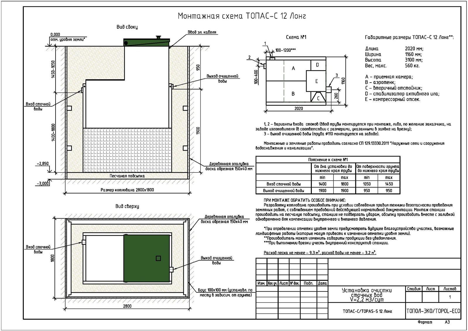 Монтажная схема септика Топас-С 12 Лонг