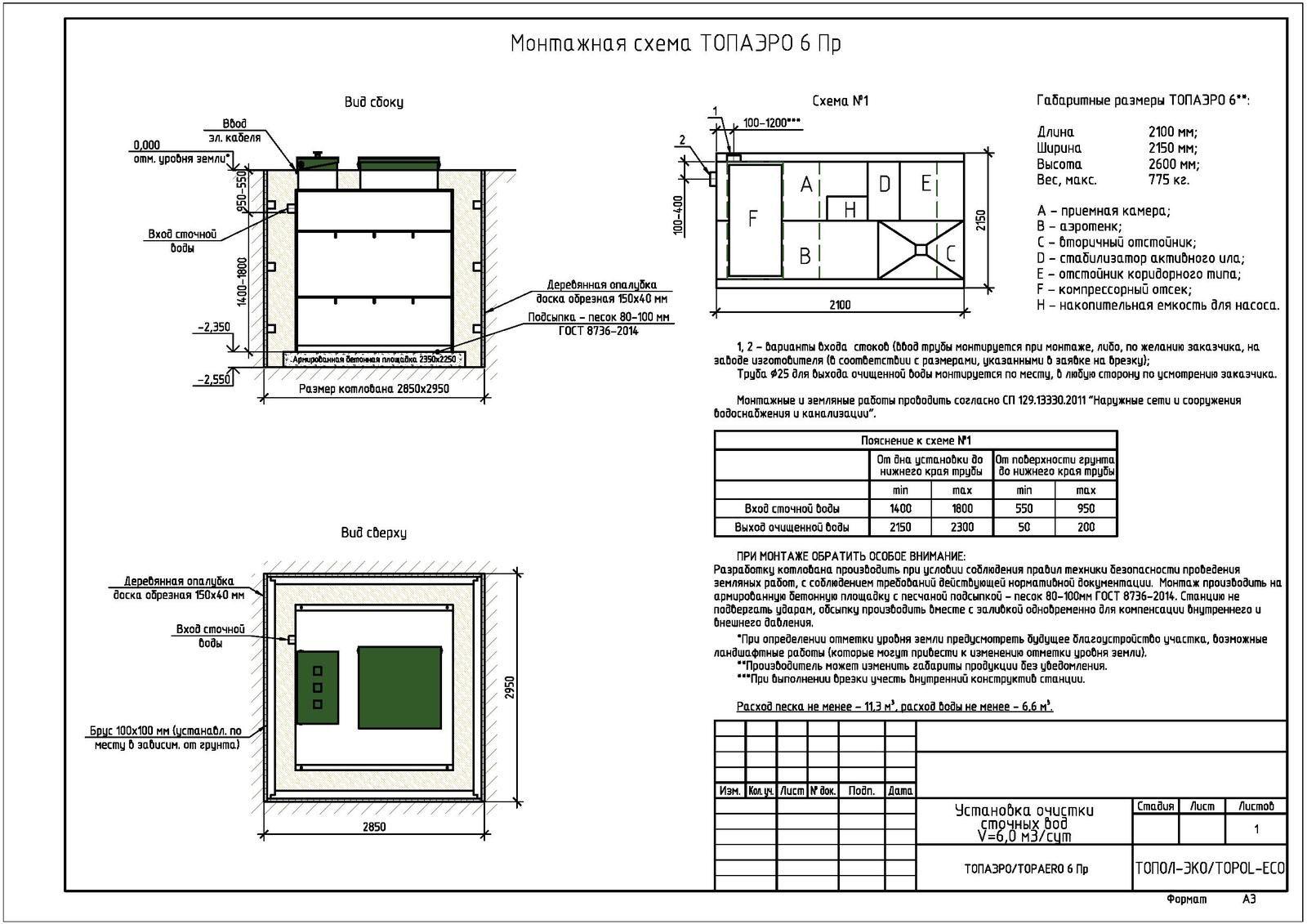 Монтажная схема септика Топаэро 6 ПР