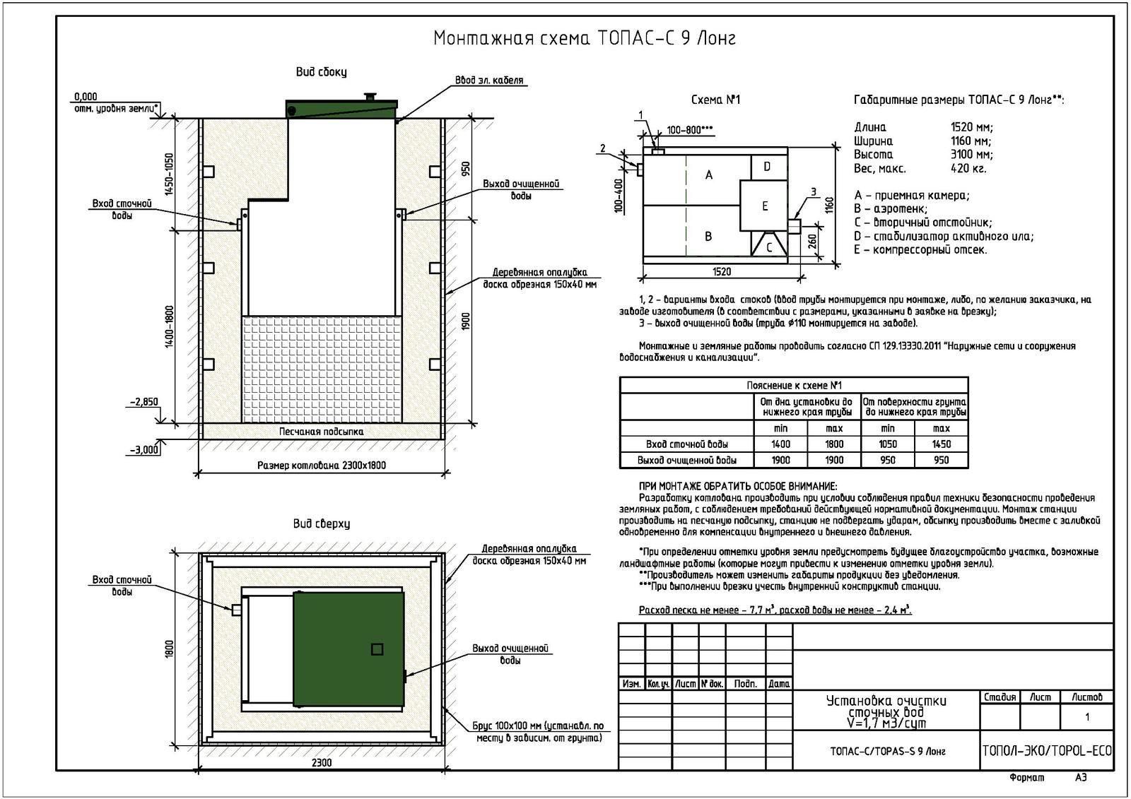 Монтажная схема септика Топас-С 9 Лонг