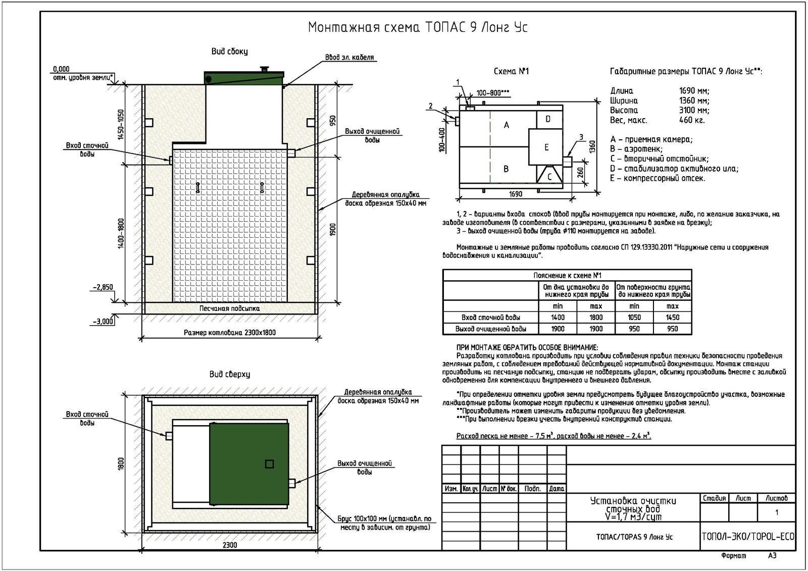 Монтажная схема септика Топас 9 Лонг УС